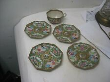 4 OLD ORIGINAL CHINESE ROSE MEDALLION PLATES ONE CUP