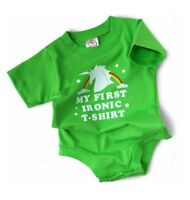 Wry Baby 'My First Ironic T-Shirt' Baby Snapsuit Bodysuit 6-12 months Boy / Girl