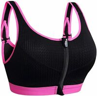 newlashua Women's Support Push Up Zip Front Close Padded Adjustable, Pink, Size