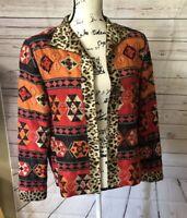 August Max Jacket Blazer Dressy Silk Size 2 Red Orange Black Beaded Leopard