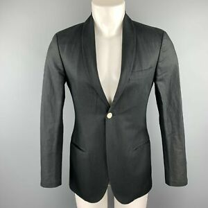 MICHAEL BASTIAN Size 36 / IT 46 Navy Linen / Cotton Shawl Collar Sport Coat
