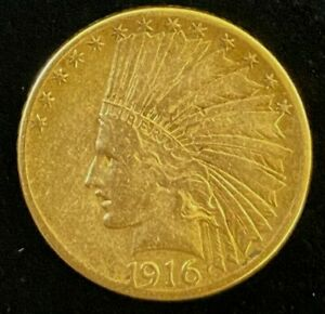 1916-S $10 Indian Head Gold Coin.!  Uncertified. NR.!