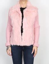 Rabbit Fur Cardigan Jacket Short Wool UK 10 Small  (I4M)