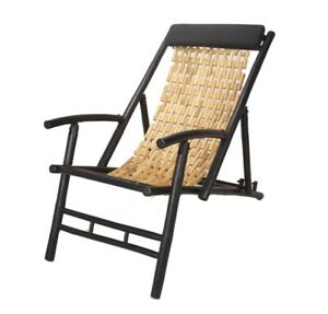 Black And Natural Bamboo Folding Sling Chair With Head Cushion