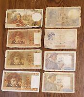 France 10 Francs 1939 1941 1942 1972 1974 1975 1976 Banknotes Lot of 8