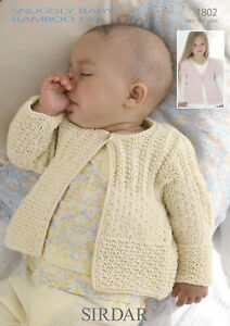 Sirdar Baby Cardigans  Knitting Pattern - 1802 -  Bamboo DK Double Knit