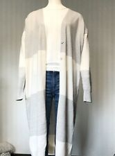 Nice Connection langer Strickmantel Streifen Offwhite Grau Cashmere/ BW Gr. 38
