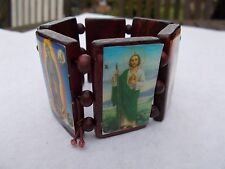 STRETCH LARGE BROWN WOODEN JESUS AND SAINTS BRACELET EXPANDABLE 4 cms 6 IMAGES