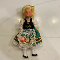 """Vintage 1970 Moll's Trachten Puppen Celluloid Girl Doll German Tag 6.5"""""""