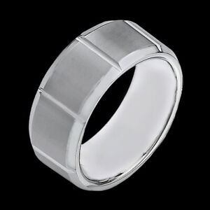 Men's Tungsten Carbide Brick Grooves Pattern 8 mm Band High Polished Edge Ring
