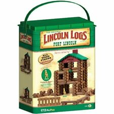 Lincoln Logs Fort Building Set, Brown, Green - OPEN BOX - W/O Die-Cast Figure