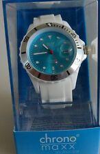 Neu chrono maxx multicolor Uhr  HAU Unisex weiß trendige Silikonuhr ZB blau