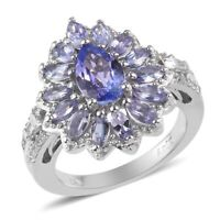 925 Sterling Silver Platinum Over Blue Tanzanite Flower Ring Gift Size 9 Ct 4.6