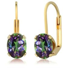 3.20 Ct Oval Shape Green Mystic Topaz Yellow Gold Plated Brass Dangle Earrings