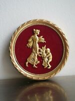 MEDAILLON ROUGE OR BRONZE ANCIEN DECOR St LOUIS XVI DECO CLASSIQUE MOISSON