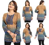 UK STOCK - Women Fashion Indian Kurti Tunic Kurta Top Shirt Dress MI523 Blue