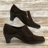 Aerosoles Ankle Booties 6.5M At Last Brown Suede Square Moc Toe
