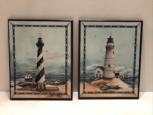 """Set of 2 Wegner Lighthhouse Pictures Prints On Wood Boards 10x8"""" Wall Mount Art"""
