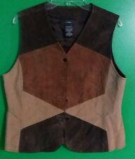 ladies leather Vest patchwork outbrook womens Large L Retro Western Vintage