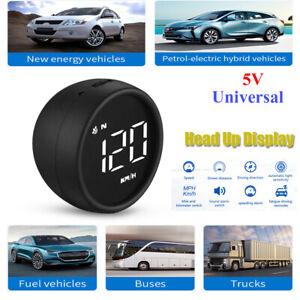 Car HUD Head Up Display Circular LED Speedometer Speed Alarm GPS Compass 12V-24V