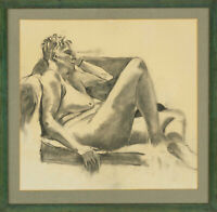 20th Century Charcoal Drawing - Seated Female Nude