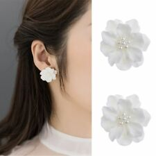 Inlay Beads Women Girl Simulated Pearl Stud Earrings Big White Flower Camellia