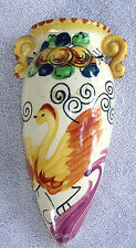 1940s  Urn Type Wall Pocket, Hand Painted Swan Made In Japan