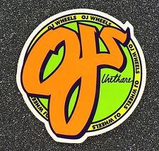 Santa Cruz OJ Wheels Skateboard Sticker 3.3in orange/green si