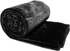 Solaron Original Korean Mink Plush Thick Soft Queen Size Blanket Solid Black