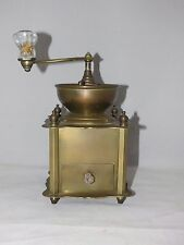 Antique Coffee Grinder Solid Brass Table Box Hand Crank Mill w/ Drawer - Heavy!