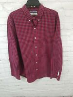 Old Navy Mens Classic Shirt Regular Fit Red Plaid Button Down NICE Casual XL