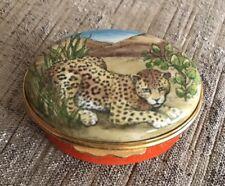 English Bilston & Battersea Jaguar or Leopard Halcyon Enamel Pill Box