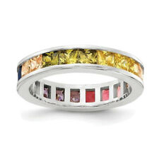 Platinum Sterling Silver Rainbow Sapphire Princess Cut Eternity Band Ring Size 7