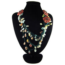 Special Natural Red Malachite, Amazonite & Banded Jasper Hand-crocheted Necklace