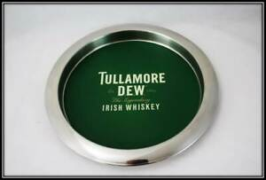 Tullamore Dew Whiskey Round Stainless Steel Tray Platter Mirror Polished