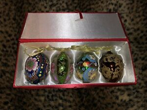 JOAN RIVERS EGG CHRISTMAS ORNAMENTS FOUR EXCELLENT!!!!