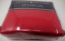 NEW Tommy Hilfiger Red Twin Sheet Set 100% Cotton Flannel