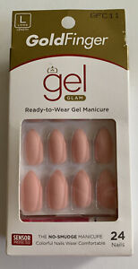 Kiss Gold Finger Long Gel Nail Pink Matte Manicure Press-on Color 24 Nails