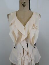 ALYTHEA Cream/Beige Ruffle Front Belted Sleeveless Top-Size M