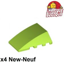 Lego - 4x Wedge 4x4 Wing Hood Roof Lime Green / File 47753 New