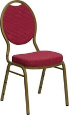 Teardrop Back Stacking Banquet Chair in Burgundy Patterned Fabric w/ Gold Frame