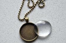 "10 x DIY round antique bronze pendant kit - 1"""