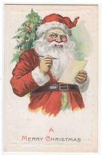 Santa Gift Wish List Pen Merry Christmas 1910c postcard
