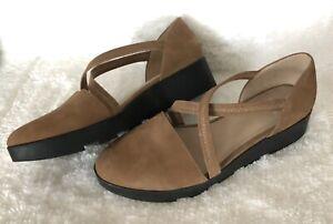 Eileen Fisher Suede Nubuck Tan Cross strap Platform Wedge Sandals Size 9 $240