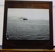 Antique Glass slide Merchant ship Suez Canal Area  1930's