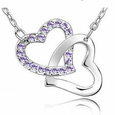 Women's Silver Tone Love Intertwined Heart Pendant Necklace Purple Stones UK