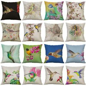 """Cover Linen Decor Throw 18"""" Case Pattern Cushion Cotton Bird Home Pillow"""