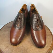 Sandro Brown 2 Tone Lizard & Leather Saddle Oxfords size 10.5 D made in Brazil