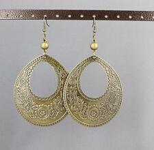 "Bronze big huge earrings medallion disc stamped textured pattern 4.25"" long lite"