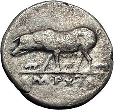 VESPASIAN 77AD SOW & PIGLETS Lares of Rome RARE Ancient Silver Roman Coin i57869